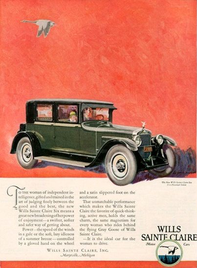 Wills Sainte Claire Automobile Michigan Goose | Vintage Cars 1891-1970