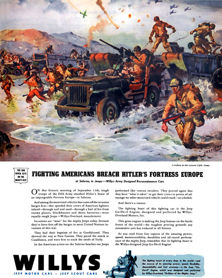Willys Fighting Americans Breach Hitlers Fortress | Vintage War Propaganda Posters 1891-1970