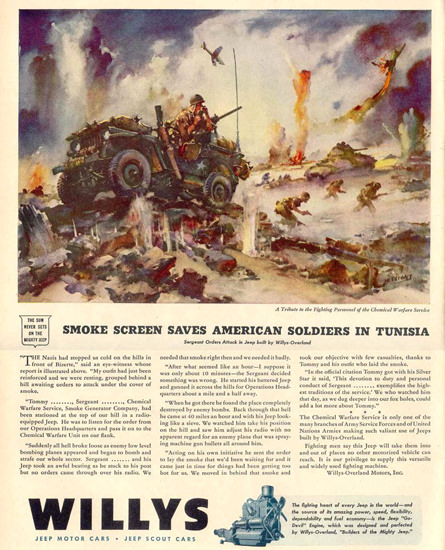 Willys Smoke Screen Saves US In Tunisia 1944 | Vintage War Propaganda Posters 1891-1970