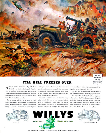 Willys Till Hell Freezes Over | Vintage War Propaganda Posters 1891-1970