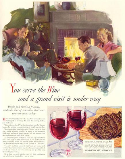 Wine Advisor Board National Wine Week 1941 | Vintage Ad and Cover Art 1891-1970