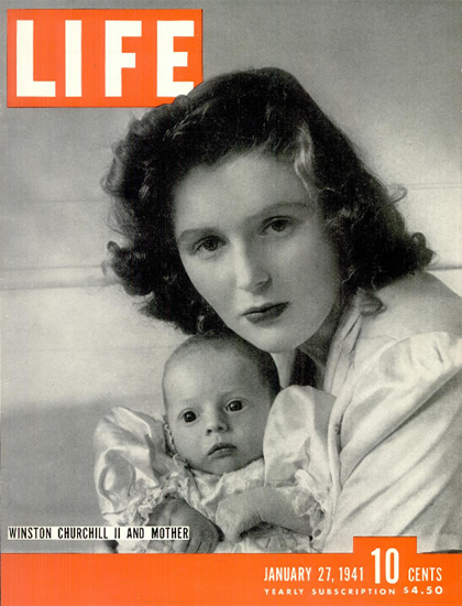 Winston Churchill II and Mother 27 Jan 1941 Copyright Life Magazine | Life Magazine BW Photo Covers 1936-1970