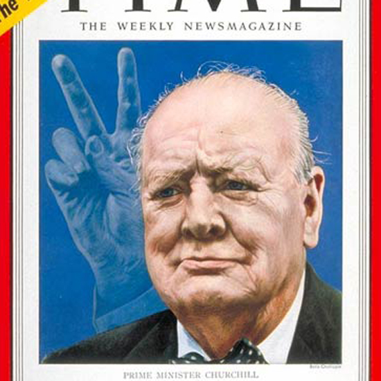 Winston Churchill Time Magazine 1951-11 by Boris Chaliapin crop | Best of Vintage Cover Art 1900-1970