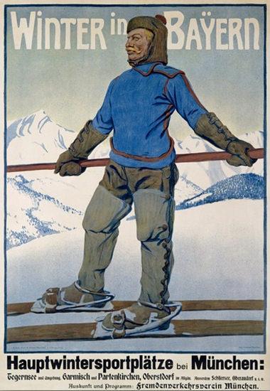 Winter In Bayern Muenchen Tegernsee Garmisch | Vintage Travel Posters 1891-1970