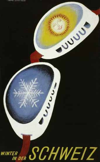 Winter In Der Schweiz Switzerland Snow Goggles 1935 | Vintage Travel Posters 1891-1970