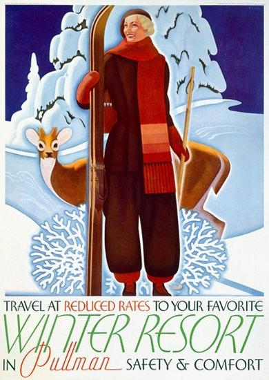 Winter Resort Travel In Pullman Wonderland   Vintage Travel Posters 1891-1970