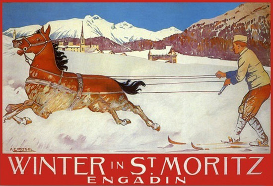 Winter St Moritz Engadin Horse Racing White Turf | Vintage Travel Posters 1891-1970