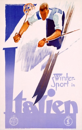 Wintersport In Italien Skiing In Italy | Vintage Travel Posters 1891-1970