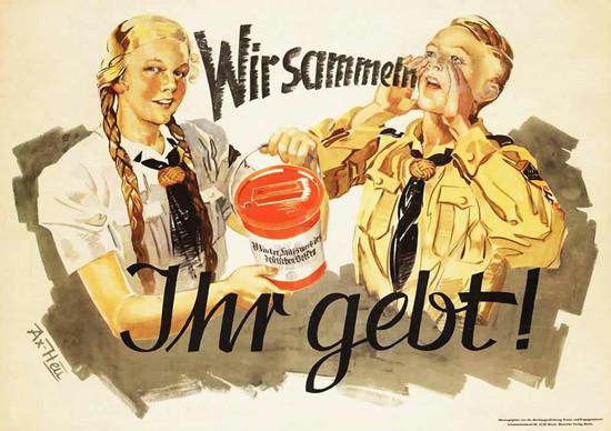 Wir Sammeln Ihr Gebt Hitler Youth | Vintage War Propaganda Posters 1891-1970