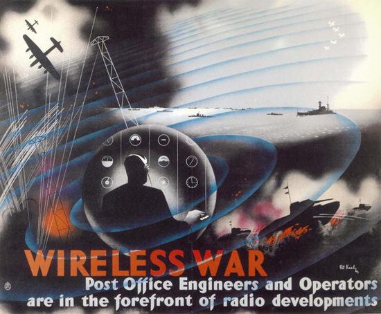 Wireless War United Kingdom   Vintage War Propaganda Posters 1891-1970
