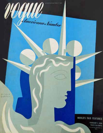 Witold Gordon Vogue Cover 1939-02-01 Copyright | Vogue Magazine Graphic Art Covers 1902-1958