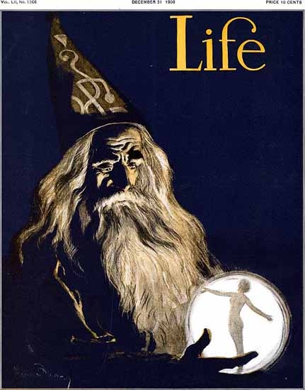 Wizard and Crystal Ball Life Humor Magazine 1908-12-31 Copyright | Life Magazine Graphic Art Covers 1891-1936