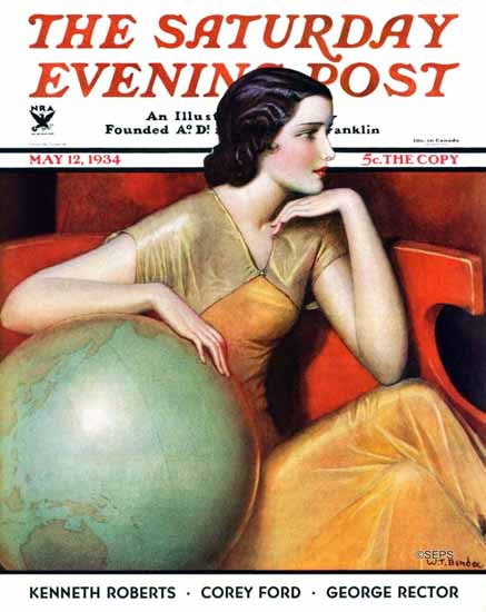 Wladyslaw Teodor Benda Saturday Evening Post Globe 1934_05_12 | The Saturday Evening Post Graphic Art Covers 1931-1969