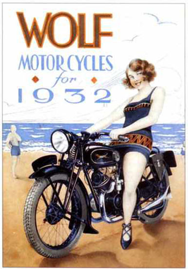 Wolf Motorcycles Girl 1932 | Sex Appeal Vintage Ads and Covers 1891-1970