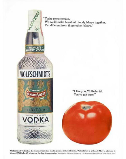 Wolfschmidts Vodka 1962 Tomato | Vintage Ad and Cover Art 1891-1970