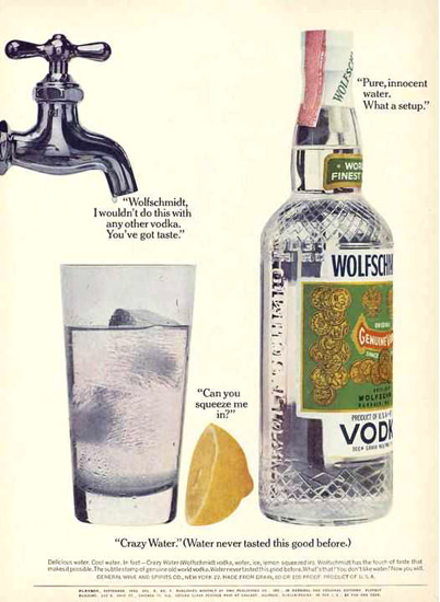 Wolfschmidts Vodka Crazy Water 1962 | Vintage Ad and Cover Art 1891-1970
