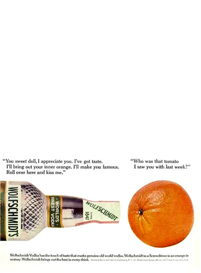 Wolfschmidts Vodka Orange You Sweet Doll 1962 | Vintage Ad and Cover Art 1891-1970