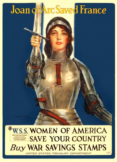 Women Of America Joan Of Arc Saved France   Vintage War Propaganda Posters 1891-1970