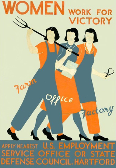 Women Work For Victory Farm Office Factory | Vintage War Propaganda Posters 1891-1970