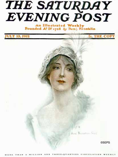 WomenArt Anna Nordstrom Feind Saturday Evening Post 1912_07_13 | 69 Women Cover Artists and 826 Covers 1902-1970