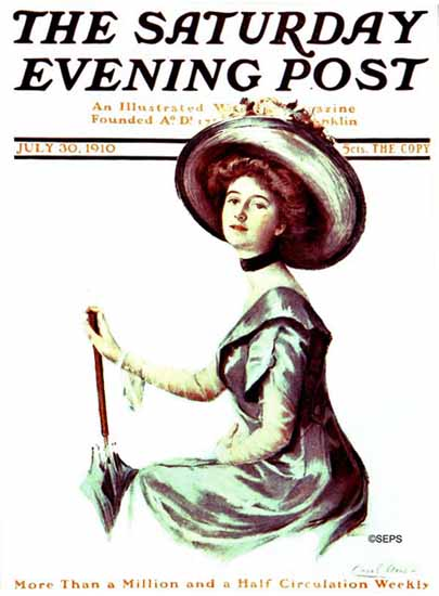 WomenArt Carol Aus Saturday Evening Post Cover Art 1910_07_30 | 69 Women Cover Artists and 826 Covers 1902-1970