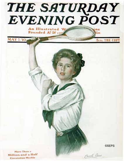 WomenArt Carol Aus Saturday Evening Post Cover Tennis 1910_05_07 | 69 Women Cover Artists and 826 Covers 1902-1970