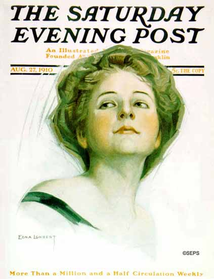 WomenArt Edna Longest Saturday Evening Post Cover Art 1910_08_27 | 69 Women Cover Artists and 826 Covers 1902-1970