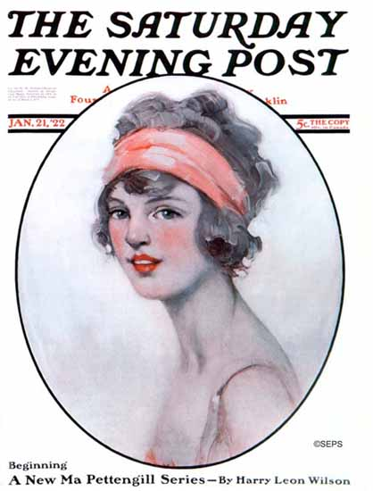 WomenArt Ellen Pyle Cover Saturday Evening Post 1922_01_21 | 69 Women Cover Artists and 826 Covers 1902-1970