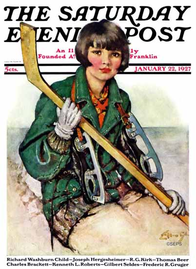 WomenArt Ellen Pyle Cover Saturday Evening Post 1927_01_22 | 69 Women Cover Artists and 826 Covers 1902-1970