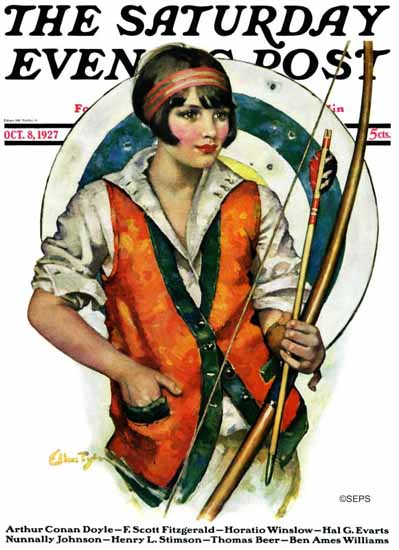 WomenArt Ellen Pyle Cover Saturday Evening Post 1927_10_08 | 69 Women Cover Artists and 826 Covers 1902-1970