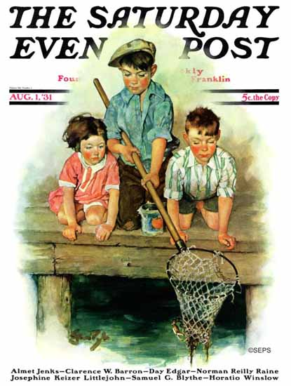 WomenArt Ellen Pyle Saturday Evening Post Crabbing 1931_08_01 | 69 Women Cover Artists and 826 Covers 1902-1970