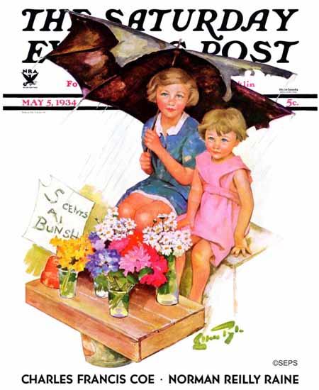 WomenArt Ellen Pyle Saturday Evening Post Flower Children 1934_05_05   69 Women Cover Artists and 826 Covers 1902-1970