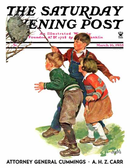 WomenArt Ellen Pyle Saturday Evening Post Hornets Nest 1935_03_16 | 69 Women Cover Artists and 826 Covers 1902-1970