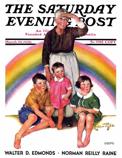 WomenArt Ellen Pyle Saturday Evening Post Rainbow 1936_03_28 | 69 Women Cover Artists and 826 Covers 1902-1970