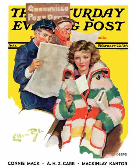 WomenArt Ellen Pyle Saturday Evening Post Reading Her Mail 1936_02_22 | 69 Women Cover Artists and 826 Covers 1902-1970