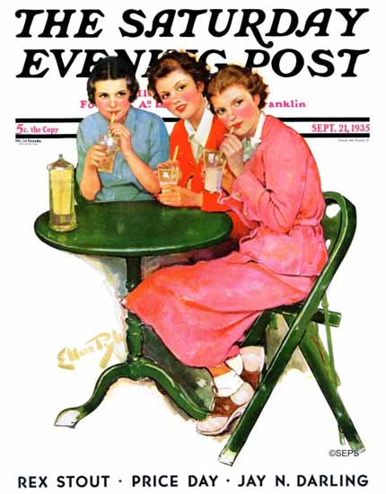 WomenArt Ellen Pyle Saturday Evening Post Sipping Sodas 1935_09_21 | 69 Women Cover Artists and 826 Covers 1902-1970