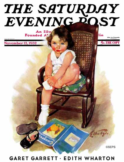 WomenArt Ellen Pyle Saturday Evening Post Toddler in Rocker 1932_11_12 | 69 Women Cover Artists and 826 Covers 1902-1970
