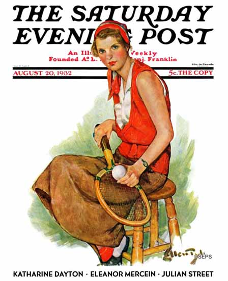 WomenArt Ellen Pyle Saturday Evening Post Woman Tennis 1932_08_20 | 69 Women Cover Artists and 826 Covers 1902-1970