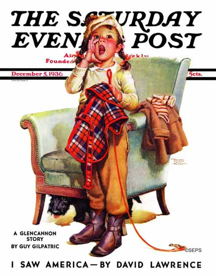 WomenArt Frances Tipton Hunter Saturday Evening Post 1936_12_05 | 69 Women Cover Artists and 826 Covers 1902-1970