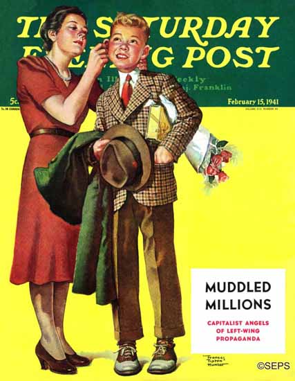 WomenArt Frances Tipton Hunter Saturday Evening Post Date 1941_02_15 | 69 Women Cover Artists and 826 Covers 1902-1970