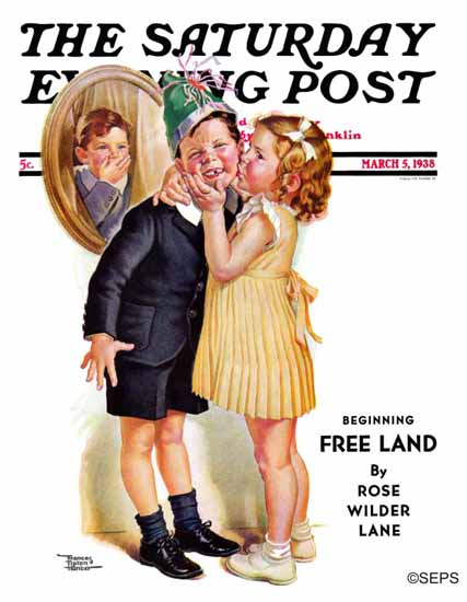 WomenArt Frances Tipton Hunter Saturday Evening Post Kiss 1938_03_05 | 69 Women Cover Artists and 826 Covers 1902-1970