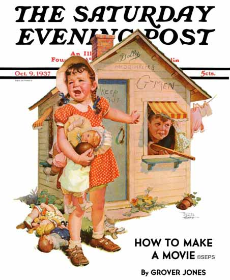 WomenArt Frances Tipton Hunter Saturday Evening Post No 1937_10_09 | 69 Women Cover Artists and 826 Covers 1902-1970