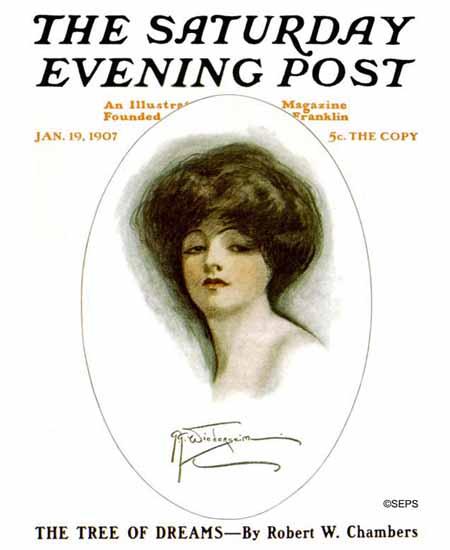 WomenArt Grace Gebbie Wiederseim Saturday Evening Post 1907_01_19 | 69 Women Cover Artists and 826 Covers 1902-1970