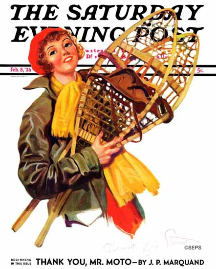 WomenArt Henrietta McCaig Starret Saturday Evening Post 1936_02_08 | 69 Women Cover Artists and 826 Covers 1902-1970