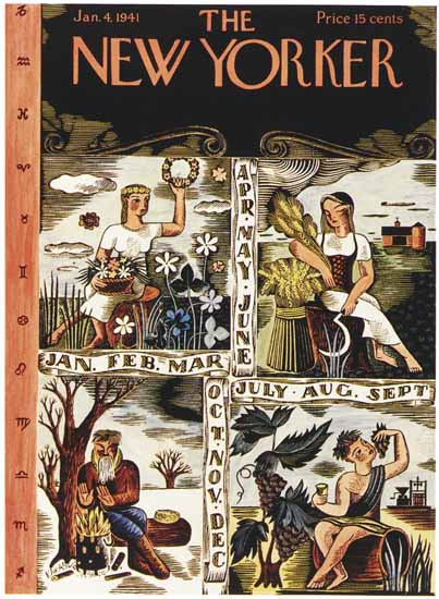 WomenArt Ilonka Karasz Cover The New Yorker 1941_01_04 Copyright | 69 Women Cover Artists and 826 Covers 1902-1970