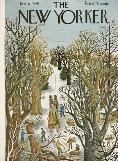 WomenArt Ilonka Karasz Cover The New Yorker 1945_01_06 Copyright | 69 Women Cover Artists and 826 Covers 1902-1970