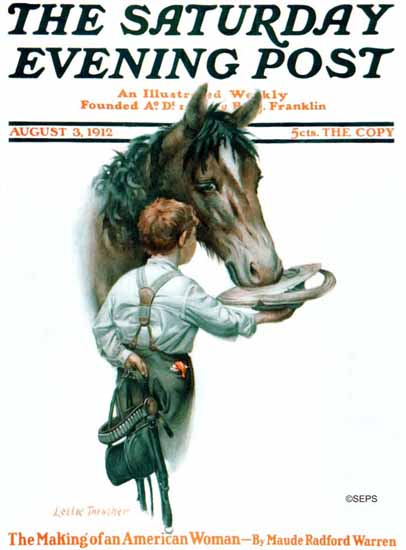 WomenArt Leslie Thrasher Cover Saturday Evening Post 1912_08_03 | 69 Women Cover Artists and 826 Covers 1902-1970
