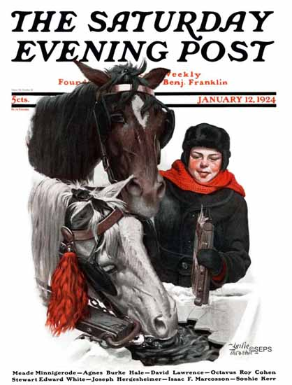 WomenArt Leslie Thrasher Cover Saturday Evening Post 1924_01_12 | 69 Women Cover Artists and 826 Covers 1902-1970