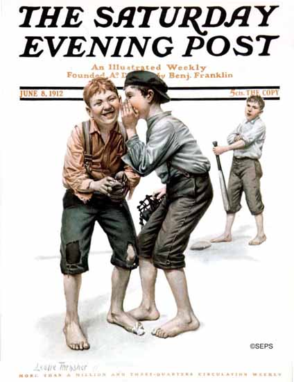 WomenArt Leslie Thrasher Saturday Evening Post Baseball 1912_06_08 | 69 Women Cover Artists and 826 Covers 1902-1970