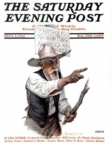 WomenArt Leslie Thrasher Saturday Evening Post No Hunting 1914_09_05 | 69 Women Cover Artists and 826 Covers 1902-1970